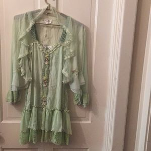 PRETTY ANGEL Light Green Dress/Top with Jacket
